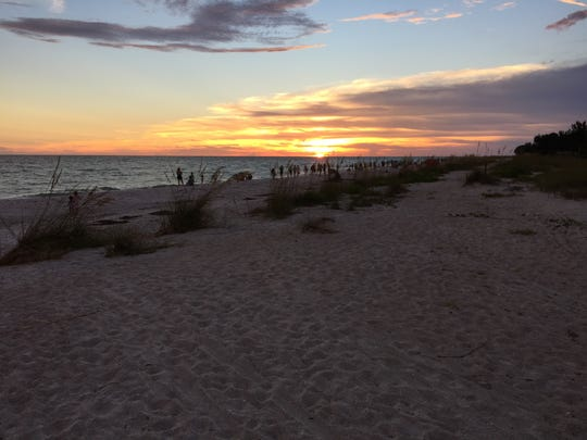 The sun sets along Anna Maria Island, south of Tampa,