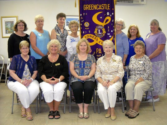 """Recently installed 2016-17 officers of Greencastle-Antrim Lioness Club, left to right, seated, Bonnie Speak, director; Bonnie Coladonato, golddigger; Carol Rockwell, secretary; Jerilyn Annan, assistant golddigger; and A. Marie Eshleman, director. Back row: Janice Wene Haas, historian; Evelyn Barnes, administrative treasurer; Sharon Martin, assistant Lioness tamer; Shirley Shatzer, Lioness tamer; Nancy Henry, director; Wilma Mitterndorfer, immediate past president; and Mercersburg Lion/Buchanan Lioness Joann Williams, who installed officers. Not pictured are president. Suanne """"Sue"""" Miller and Betty Crumrine, project treasurer."""