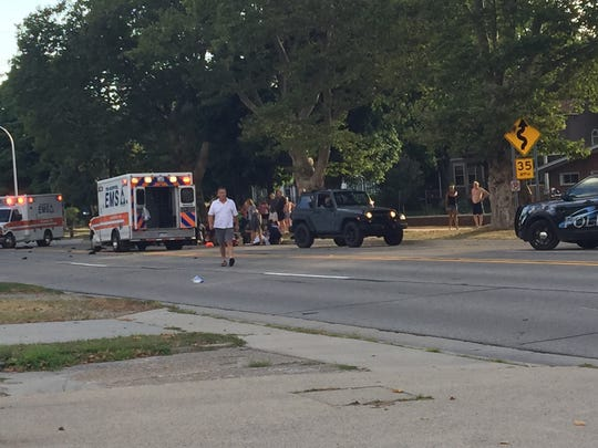 Military Street is closed following a crash Friday evening.