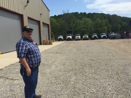 Houston County Highway Superintendent George Dew looks over the large outside storage area behind the Highway Department's new facility on Highway 149.