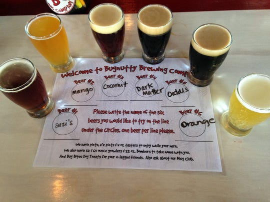 A six-beer flight is available for $11 at Bugnutty Brewing Company on Merritt Island.