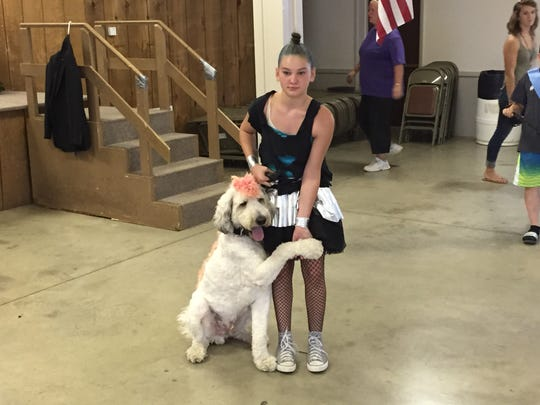 Marleigh Albert gets a shake from her St. Berndoodle, Bandit, at the dog show Monday at the Richland County Fair.