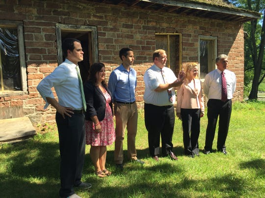 Local and state politicians joined together Monday, Aug. 8, 2016, to call for renewed investment to restore the Vanderbilt-Budke house and adjacent farmhouse on the Traphagen property in Clarkstown. From left to right,  state Sen. David Carlucci, D-New City; Clarkstown Councilwoman Councilwoman Stephanie Hausner; state Assemblyman Kenneth Zebrowski, D-New City; Town Supervisor George Hoehmann; and Clarkstown Board members Adrienne Carey and Frank Borelli.