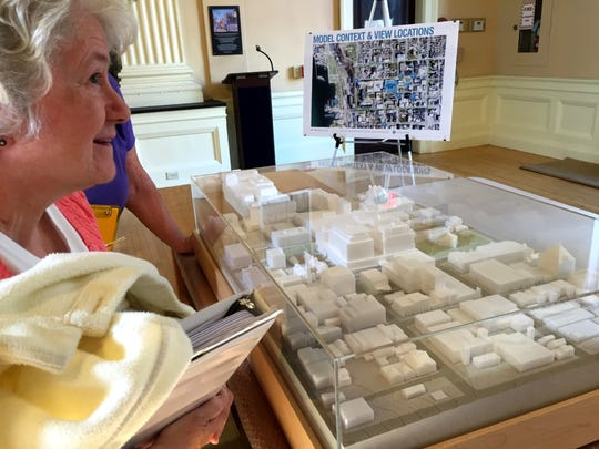 City Councilor Sharon Bushor, I-Ward 1, discusses a scale model of a proposed redevelopment of Burlington Town Center. The model was unveiled Aug. 9 in Contois Auditorium prior to a meeting of the City Council Ordinance Committee, which Bushor chairs. Fletcher Free Library now houses the model. Photographed on Tuesday, Aug. 9, 2016.