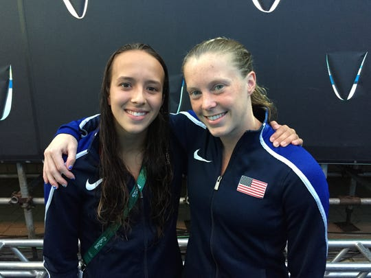 Indiana divers Jessica Parratto, left, and Amy Cozad