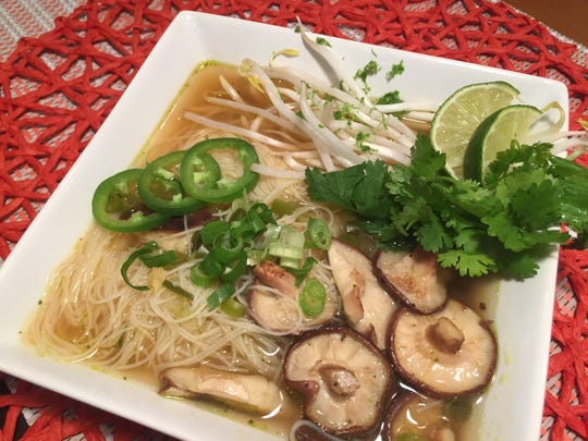 Pho with sprouts and shittakes from V-Grits' new meal kit service, which delivers to Music City.