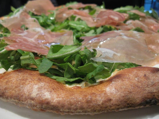 The DiParma pizza, with prosciutto di Parma and arugula, at Frankie & Fanucci's in Mamaroneck.