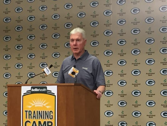 Ted Thompson at the podium
