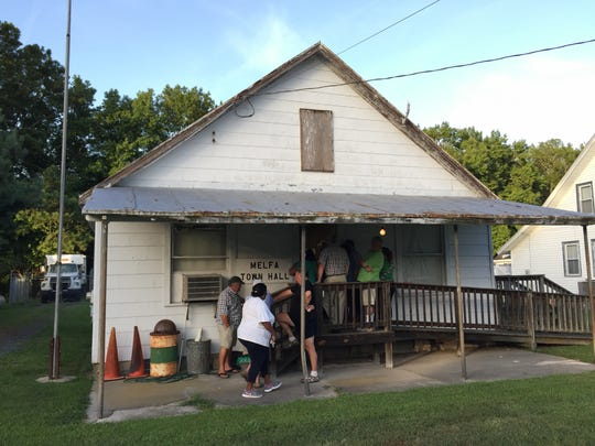 A community meeting about chickenhouses at the Melfa town hall drew more attendees than the building could hold Wednesday, Aug. 10.