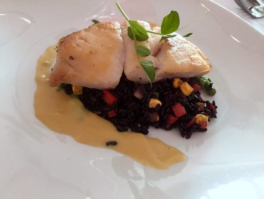 """Grouper with """"Forbidden Rice"""" at Shangri-La Springs"""