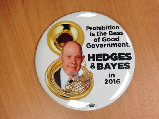 Jim Hedges, a tuba player from Fulton County, is campaigning