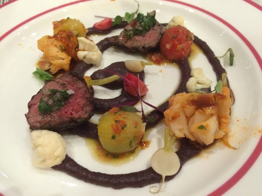 Chef Herve Glin prepared grilled hanger steak and Maine