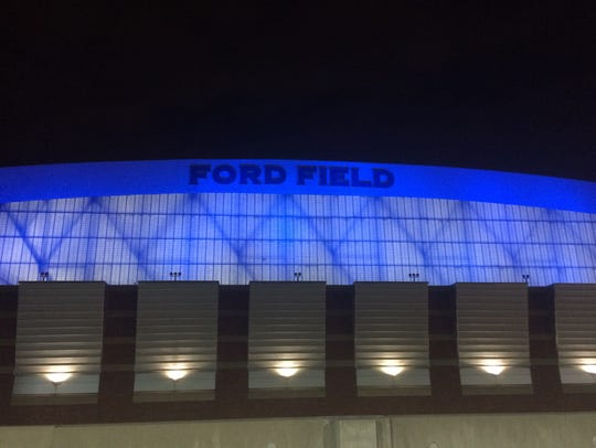 The exterior of Ford Field in downtown Detroit is to