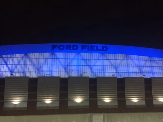 The exterior of Ford Field in downtown Detroit is to dance with color starting in fall 2016 as an LED lighting system illuminates the east and west walls, as well as the roof.