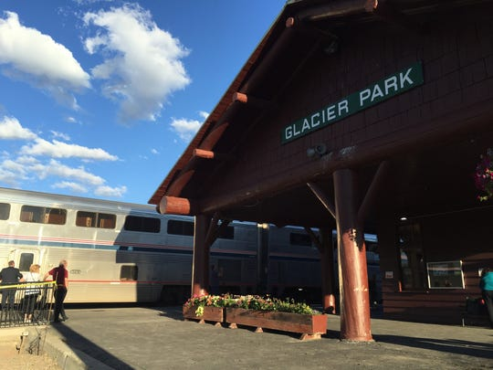 Amtrak train in the East Glacier depot in July
