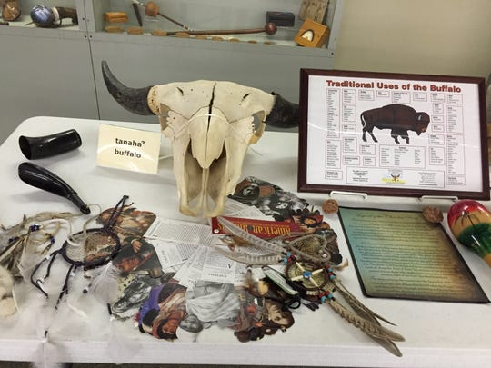 A buffalo skull and the traditional uses of a buffalo on display at the Adai Caddo Indian Nation Cultural Center in Robeline.