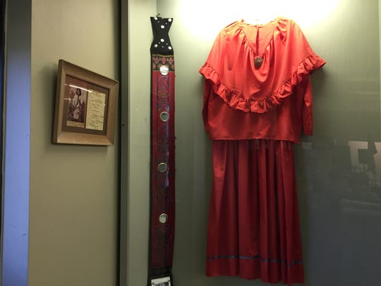 A dress on display at  Adai Caddo Indian Nation Cultural Center in Robeline.
