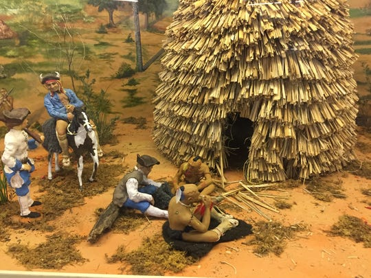 Diorama of a prehistoric village at  Adai Caddo Indian Nation Cultural Center in Robeline.
