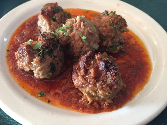 An order of albondigas, lamb and beef meatballs, at