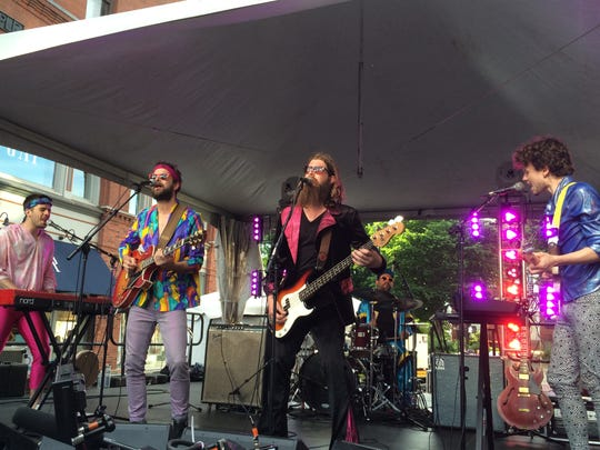 Madaila (left to right, Eric Maier, Mark Daly, Jer Coons, Dan Ryan and Willoughby Morse) performs on Church Street in June during the Burlington Discover Jazz Festival.
