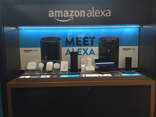 Amazon Echo is on display at Amazon Pop-Up store at the Freehold Raceway Mall