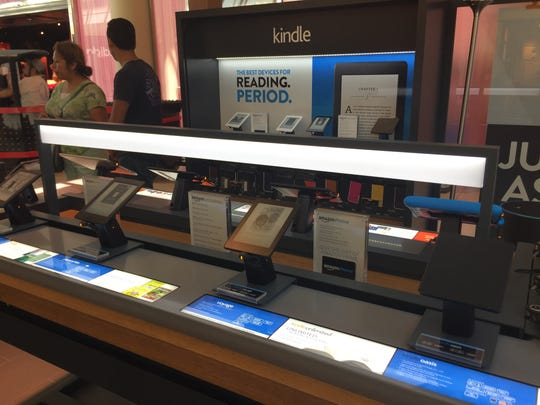 Amazon devices are on display at the Amazon Pop-Up store at Freehold Raceway Mall.