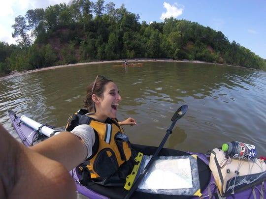 Uma Blanchard takes a selfie while she kayaks on Lake