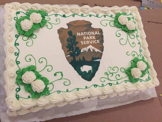 Chef Bobby Varua of Blue Morel restaurant made a custom cake donated to Morristown National Historical Park for the 100th anniversary celebration of the National Park Service on Thursday at the Washington's Headquarters Museum in Morristown August 25, 2016.