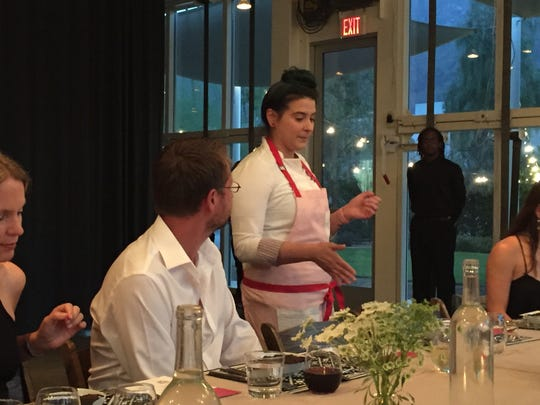 Chef Christine Rivera says a few words to guests before the dinner begins.