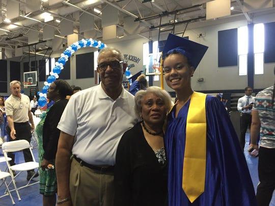 Imani Johnson-Batipps and her family at the Edison Job Corps graduation on Friday.