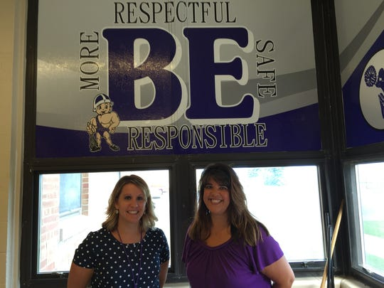 Fremont City Schools Cirriculum Director Abby Abernathy, left, and Ross High School Principal Gracy Lloyd promote new school district initiative promoting kindness and tolerance in Fremont.