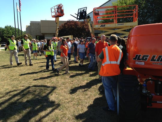 Shift workers at the JLG Industries Shippensburg plant