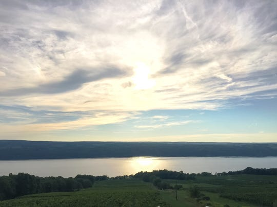 The view of Seneca Lake from Two Goats Brewing.