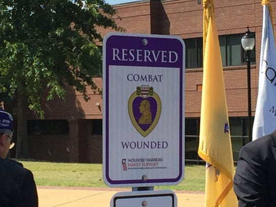 A parking space at Camden County College in Gloucester Township Campus is now designated for wounded veterans.