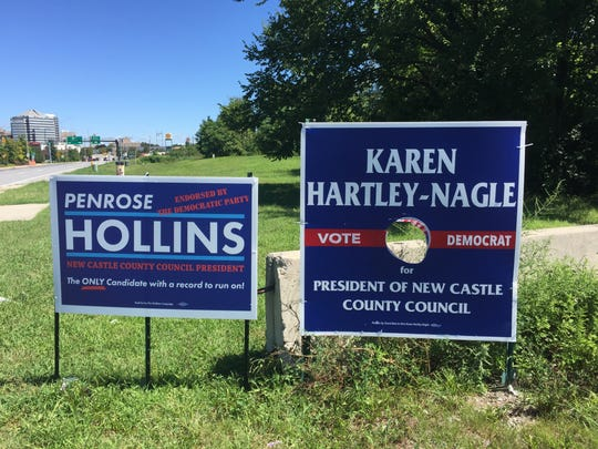 Democrat Karen Hartley-Nagle is offering a $1,000 reward for information leading to the arrest of those responsible for stealing an estimated 200 campaign signs she has installed in the run-up to her Sept. 13 primary for New Castle County Council President. She said this photo depicts vandalism that has been common to her signs.