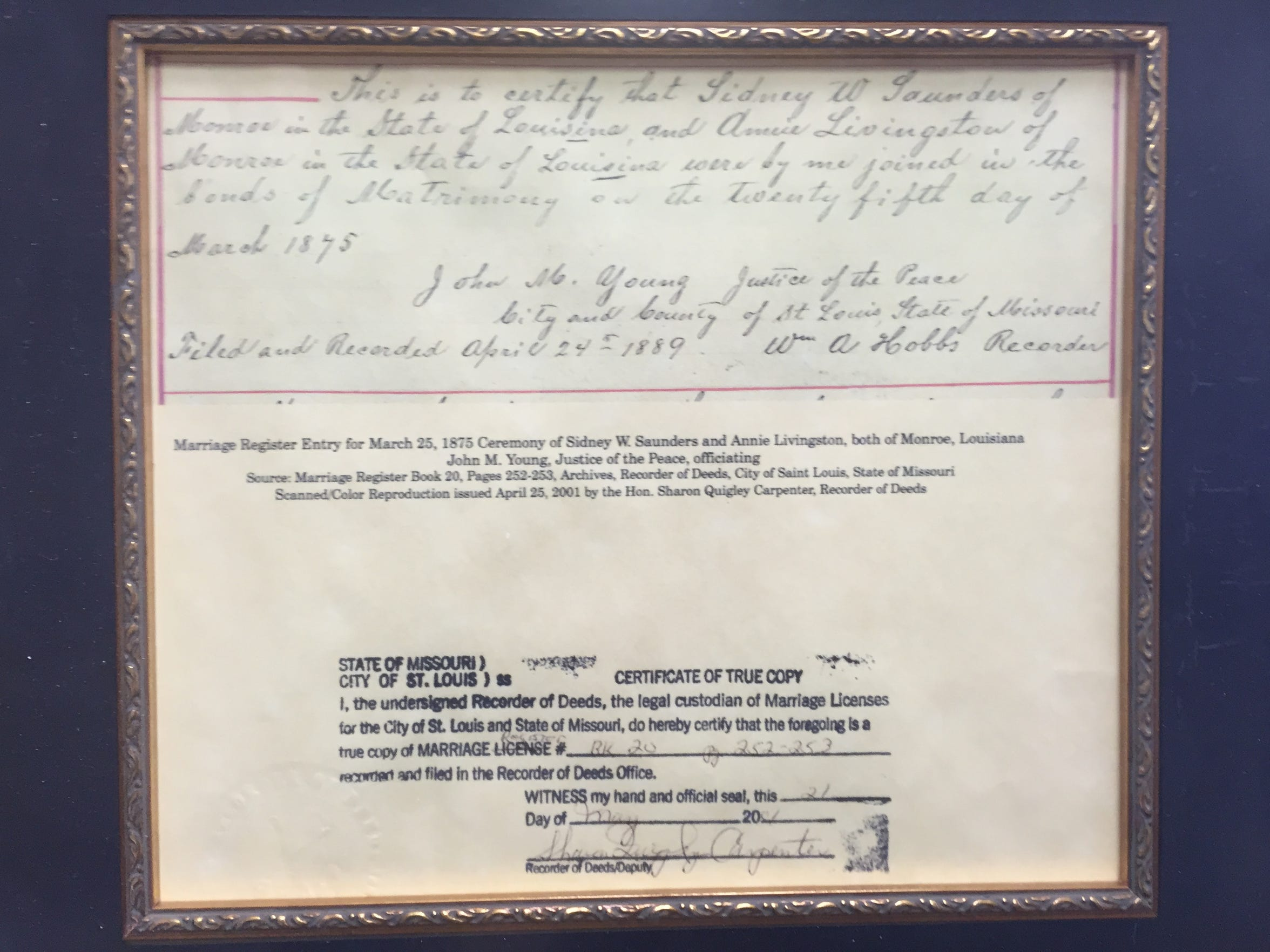The certified register of Sidney and Annie Saunders'