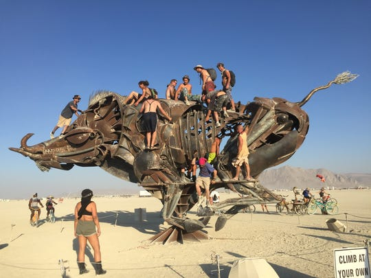 "Bryan Tedrick's ""Lord Snort"" appears at Burning Man 2016."
