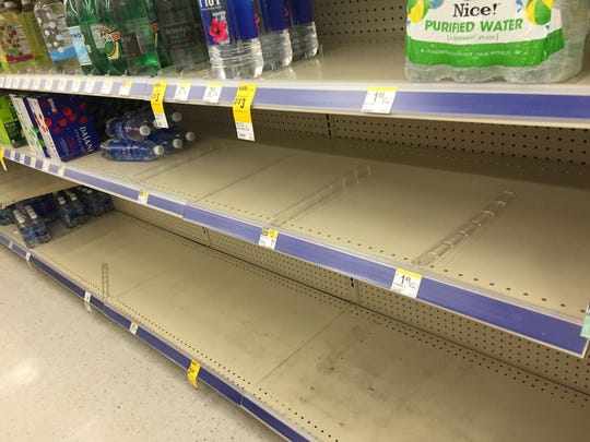 Walgreens on the corner of Apalachee Parkway and South Magnolia Drive had run out of most bottled water by 2:30 p.m. Thursday.