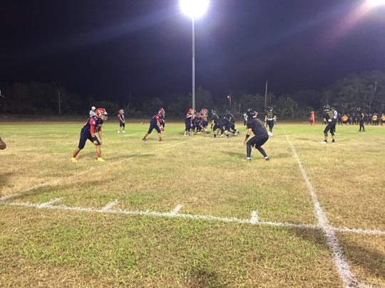 The John F. Kennedy Islanders and Okkodo Bulldogs competed in an Interscholastic Football League game on Friday at the Bulldog's field in Dededo.