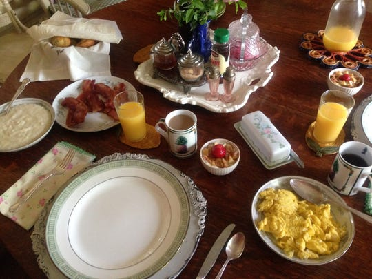 A country-style breakfast prepared by Airbnb host Sandra Evans at Mahaffey Farms.