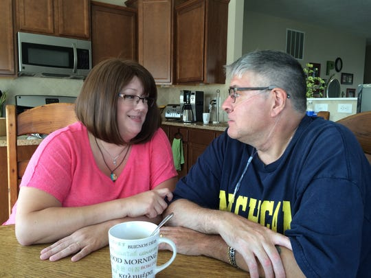 Krystn and Jim Palmer, in their Mason kitchen Aug. 26, 2016, discuss how they will face Jim's double lung transplant together.