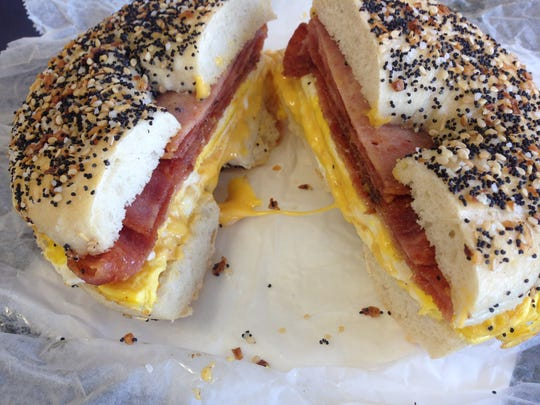 Stuff A Bagel's signature sandwich is the Jersey Turnpike, which features Taylor ham or Trenton pork roll.