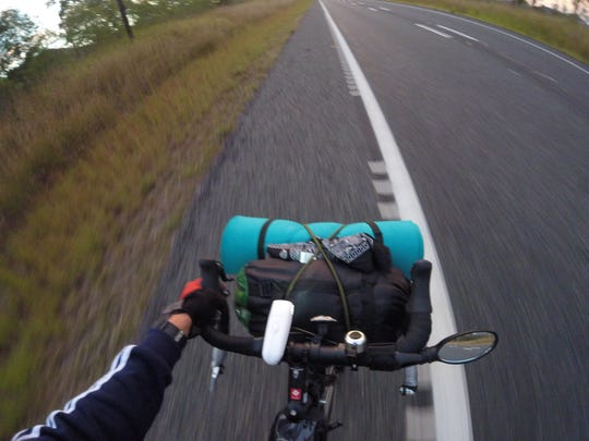 A typical view for Eli Major while biking taken from his GoPro.