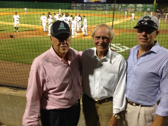 Generals co-owners Reese Smith III, left, and David Freeman, right, with Jackson Mayor Jerry Gist in this file photo. The Generals are looking for a new general manager after Jason Compton's departure.