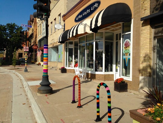 "Joy Cha created last winter's ""yarnbombing,"" a public"
