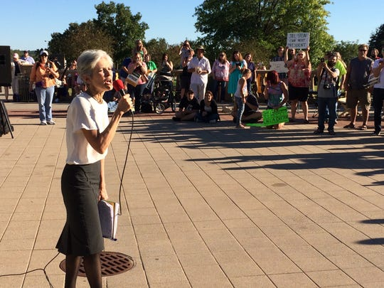 Green Party presidential candidate Jill Stein rallies supporters at the Iowa Capitol on Sunday, Sept. 11, 2016.