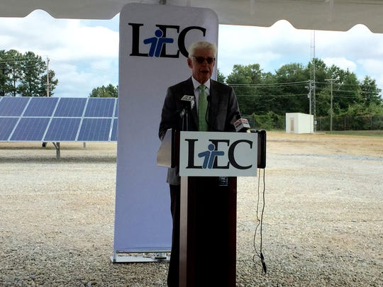 Laurens Electric Cooperative President and CEO David Wasson speaks during an event Tuesday to commemorate LEC's new solar community farm at the co-op's Mauldin branch.