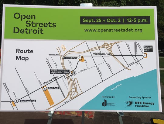 The map of the route of Open Streets Detroit, a recreational