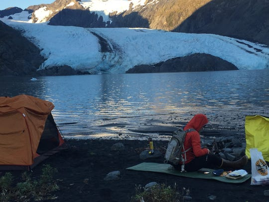 Camping across from the Portage Glacier