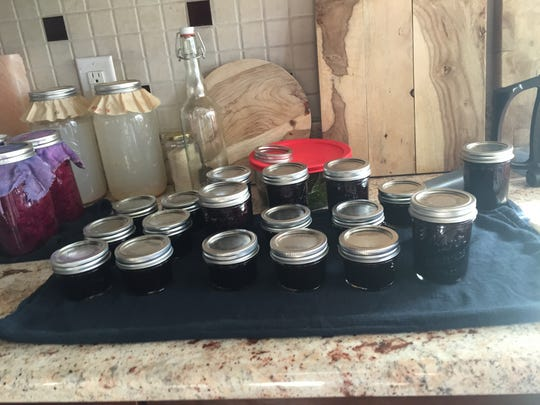 Canning blueberries we picked.